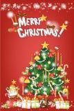 Kerstkaartachtergrond van rode kleurenontwerp - vectoreps10 Royalty-vrije Stock Fotografie