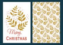 Kerstkaarten met Groene Bladeren Vector Illustratie