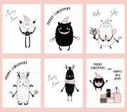 Kerstkaarten met leuke grappige monsters vector illustratie