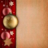 Kerstkaartmalplaatje - baulbles, sterren en ruimte voor tekst Stock Foto's