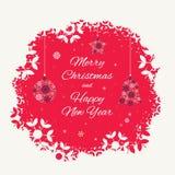 Kerstkaartmalplaatje met Kerstmisdecoratie van sneeuwvlokken worden gemaakt die Royalty-vrije Stock Foto's
