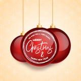 Kerstkaartontwerp met elegant ontwerp en lichte gouden vector als achtergrond stock illustratie