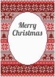Kerstkaartontwerp met gedetailleerd patroon Stock Fotografie