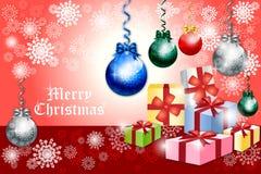 Kerstkaartontwerp met kleurrijke snuisterij - vectoreps10 Stock Afbeeldingen