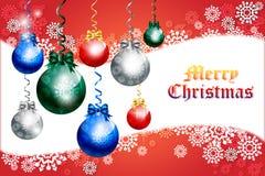 Kerstkaartontwerp met kleurrijke snuisterij - vectoreps10 Stock Foto's