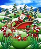 Kerstman & zijn rendier Stock Foto