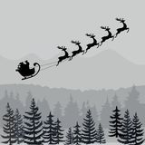 Kerstman in Arsilhouet Zwart-wit Kerstmisbanner stock illustratie