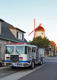 Kerstman Barbara County Fire Truck in Solvang, CA royalty-vrije stock fotografie