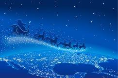 Kerstman in de hemel Royalty-vrije Stock Afbeeldingen