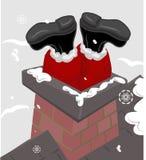 Kerstman in de schoorsteen royalty-vrije illustratie