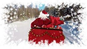 Kerstman die in ar met de winterlandschap en bomen reizen stock illustratie