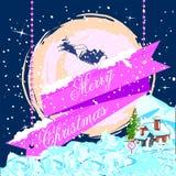 Kerstman die in ar voor de Vrolijke viering van de Kerstmisvakantie vliegen Stock Foto's