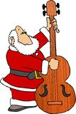 Kerstman die BasFiddle spelen royalty-vrije illustratie