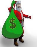 Kerstman die de zak met dollars stock illustratie