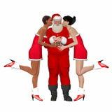 Kerstman die door damevrienden worden gekust Stock Afbeeldingen