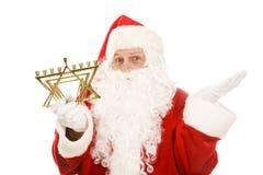 Kerstman die door Menorah wordt verward Stock Foto