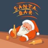 Kerstman die in een barvector drinken Stock Afbeeldingen