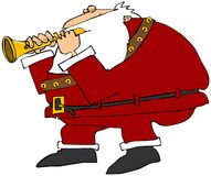 Kerstman die een fluit spelen stock illustratie