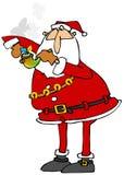 Kerstman die een marihuanapijp aansteken Stock Foto's