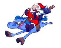 Kerstman die een Paard berijden vector illustratie