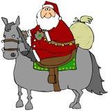 Kerstman die een Paard berijden royalty-vrije illustratie