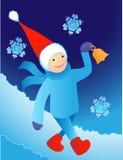 Kerstman die in een sneeuw lopen Royalty-vrije Stock Foto's