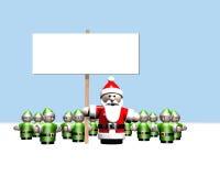 Kerstman die een teken houden dat door al zijn helpers wordt omringd Stock Afbeeldingen