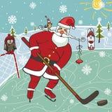 Kerstman die ijshockey spelen Humoristische illustraties Royalty-vrije Stock Afbeeldingen