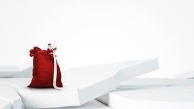 Kerstman die lange lijst lezen Stock Afbeeldingen
