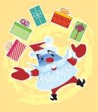 Kerstman die met Giften jongleren Stock Foto's