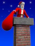 Kerstman die onderaan schoorsteen gaan royalty-vrije illustratie
