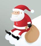 Kerstman die op ijsdak zitten Royalty-vrije Stock Foto's