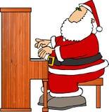 Kerstman die Piano spelen stock illustratie