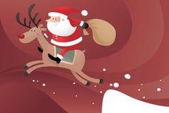 Kerstman die Rendier berijden Royalty-vrije Stock Afbeeldingen