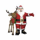 Kerstman die Rendier koesteren Stock Fotografie
