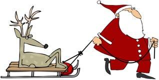 Kerstman die Rendier trekken Stock Afbeelding
