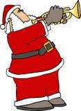 Kerstman die Trompet spelen stock illustratie