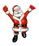 Kerstman die voor Vreugde springen Royalty-vrije Stock Afbeeldingen