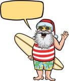 Kerstman die zich met surfplank bevinden Royalty-vrije Stock Afbeeldingen