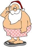 Kerstman die zich op badkamersschalen bevinden vector illustratie