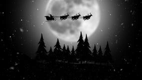 Kerstman die zijn ar berijden op de maanachtergrond stock illustratie