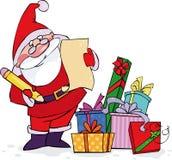 Kerstman die zijn lijst controleren Stock Afbeeldingen