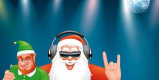 Kerstman DJ en elf Stock Afbeeldingen