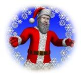 Kerstman door een cirkelsneeuwvlok Royalty-vrije Stock Fotografie