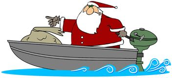 Kerstman in een Boot van de Motor Stock Afbeeldingen