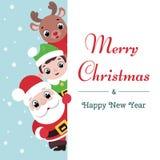 Kerstman, elf en herten met uithangbord vector illustratie
