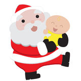 Kerstman en Baby Stock Foto's