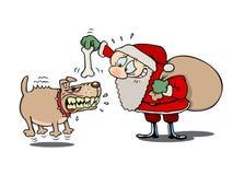 Kerstman en de gekke hond Stock Foto