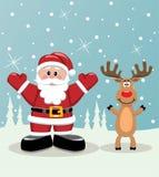 Kerstman en de herten van Rudolph Stock Foto's