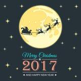 Kerstman en de kaart van de maangroet Vector Illustratie